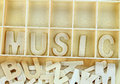 Word music made with wooden letters alphabet