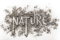 Word nature written in ash, dust as ecology danger concept Royalty Free Stock Photo