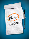 Word now circled in orange on a notepad Royalty Free Stock Photography