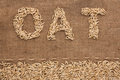 Word oat  written on burlap Royalty Free Stock Photo