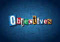 The word Objectives made from cutout letters