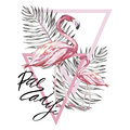 Word- Paradise. Two flamingos with tropical leaves. Element for design of invitations, movie posters, fabrics and other Royalty Free Stock Photo