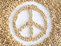 Word of peace made with grains of wheat Stock Photo