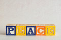 The word peace spelled with colorful alphabet blocks Royalty Free Stock Photo