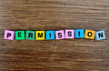 The word Permission on table Royalty Free Stock Photo