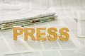 The word press made ​​of paper mache letters Royalty Free Stock Images