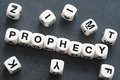 Word prophecy on toy cubes Royalty Free Stock Photo