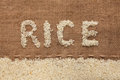 Word rice written on burlap Royalty Free Stock Images