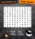 Word search game halloween the words may be horizontally vertically and diagonally Stock Photo