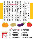 Word search game with vegetables Royalty Free Stock Photo