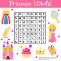 Word search puzzle kids activity. Educational children game for girls. Learning vocabulary. Princess world Royalty Free Stock Photo