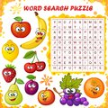 Word search puzzle. Vector education game for children. Cartoon fruits emoticons