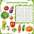 Word search puzzle. Vector education game for children. Cartoon vegetables emoticons