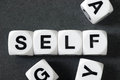 Word self on toy cubes