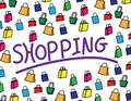 The word shopping on white background with clolorful shopping bags Royalty Free Stock Photo