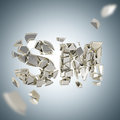 Word sm broken into pieces background explosion as smashed and silver depth dimensional Royalty Free Stock Image