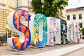 The word Sopron in big 3D letters in the street in Sopron, Hungary