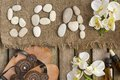 The word spa done with river pebbles. Background Royalty Free Stock Photo