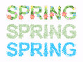 Word spring in floral font vector Royalty Free Stock Photo