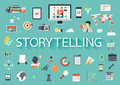 The word STORYTELLING with ling shadow surrounded by concerning flat icons. Vector illustration
