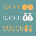 Word success and money bags coins and dollar sign vector illustration Royalty Free Stock Photography