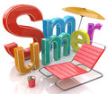 Word summer with colourful letters in the design of information related to season Royalty Free Stock Images
