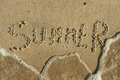 Word summer written by in the sand can be used as background Royalty Free Stock Photos
