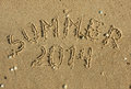The word summer written on the sand can be used as background Royalty Free Stock Image