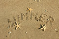 Word summer written by in the sand can be used as background Royalty Free Stock Photo