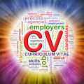 Word tags circular wordcloud of cv illustration curriculum vitae Stock Photography