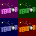 Word terror with bomb Stock Image