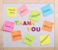 The word thank you stickers with letters and plastic Stock Images