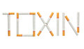 Word toxin made of cigarettes isolated on white background is concept Royalty Free Stock Images