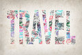 Word travel created with passport stamps on textured background concept Royalty Free Stock Image