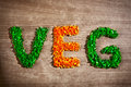 Word veg from chopped vegetable pieces Stock Photo