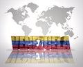 Word Venezuela on a world map background