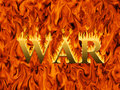 Word war engulfed in flames on infernal background concept of destruction and hardship of Stock Image