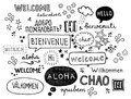 Word welcome written in different languages Stock Images