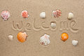 Word welcome written on the sand as background Royalty Free Stock Photo