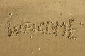 Word welcome written on the sand Royalty Free Stock Photo