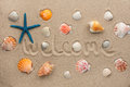 The word welcome written on the sand Royalty Free Stock Photo
