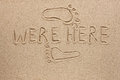 Word were here written sand as background Stock Photos