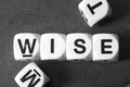 Word wise on toy cubes Royalty Free Stock Photo