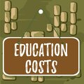 Word writing text Education Costs. Business concept for amounts paid for tuition fees and other related expenses Colored memo Royalty Free Stock Photo