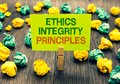 Word writing text Ethics Integrity Principles. Business concept for quality of being honest and having strong moral Clothespin hol Royalty Free Stock Photo