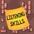 Word writing text Listening Skills. Business concept for ability to understand information provided by the speaker Royalty Free Stock Photo