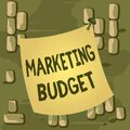 Word writing text Marketing Budget. Business concept for estimated amount of cost required to promote products Curved Royalty Free Stock Photo