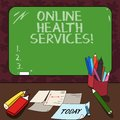 Word writing text Online Health Services. Business concept for Healthcare practice supported by electronic processes Mounted Blank