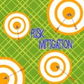 Word writing text Risk Mitigation. Business concept for strategy to prepare for and lessen the effects of threats Arrow and round Royalty Free Stock Photo