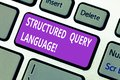 Word writing text Structured Query Language. Business concept for computer language for relational database Keyboard key Royalty Free Stock Photo